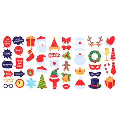 christmas photo props new year party photo booth vector image