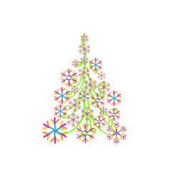 christmas tree from beautiful geometric snowflake vector image