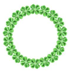 Circle cloverleaf frame laurel wreath background vector