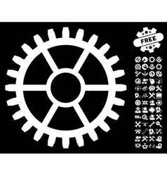 Clock Wheel Icon with Tools Bonus vector