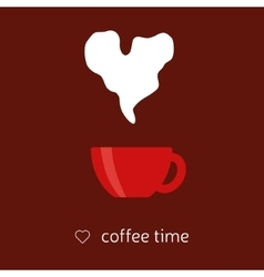 coffee with heart steam vector image
