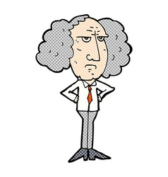 Comic cartoon big hair lecturer man vector