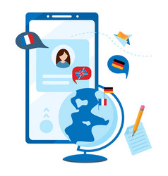 concept foreign language online learning mobile vector image