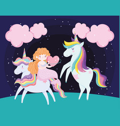 cute mermaid with heart and adorable unicorns vector image