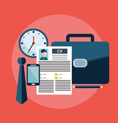 CV job search items flat modern design vector