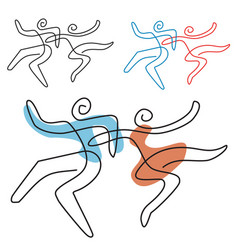 Dancing couple line art vector