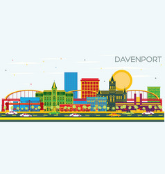Davenport iowa skyline with color buildings and vector