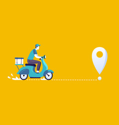 delivery man on scooter food deliveries courier vector image