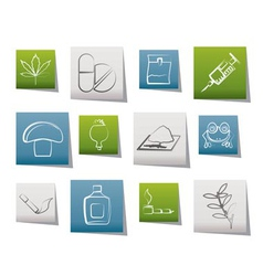 different kind of drug icons vector image