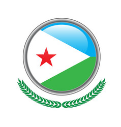 djibouti flag button djibouti flag icon of vector image