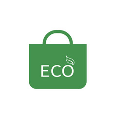 Eco shopping bag icon green ecological sign vector