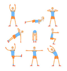 elderly man character exercising set healthy vector image