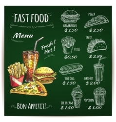 fast food menu chalk sketch on blackboard vector image