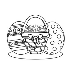 Figure hamper with ribbon bow and eggs easter vector