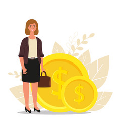 Financial advisor businesswoman is standing near vector