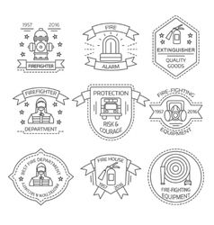 Firefighting Linear Emblems vector image