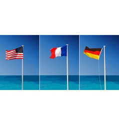 Flags on sea background vector image