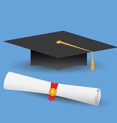 Flat design modern of graduation cap and diploma vector