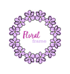 floral round frame vector image