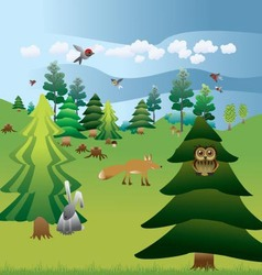 forest plants and animals vector image vector image