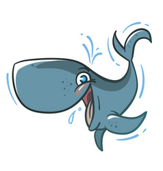 funny cartoon bawhale vector image