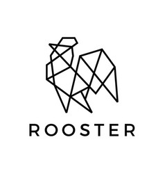 geometric rooster line outline logo icon vector image