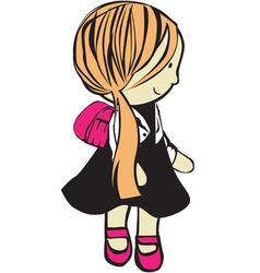Girl with school bag vector