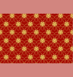 gold flower on red background - retro style vector image