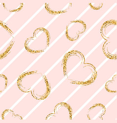 Gold heart seamless pattern white-pink geometric vector