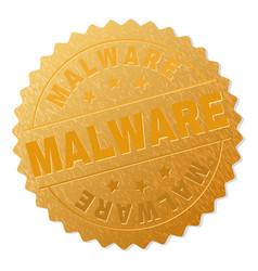 Gold malware medal stamp vector