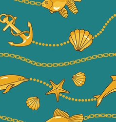 gold nautical pattern vector image