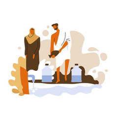 Hajj ritual isolated icon muslim man performs vector