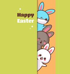 happy easter greeting card with rabbits wearing vector image