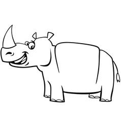 Happy rhinoceros character coloring page vector