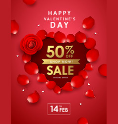 happy valentines day rose sale heart shape poster vector image
