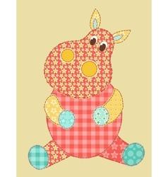 Hippopotamus patchwork vector image