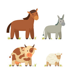 horse standing on grass set vector image