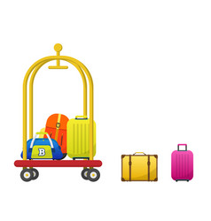 hotel luggage cart with colorful bags vector image