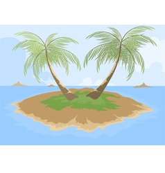 Island with palm tree cartoon scene vector