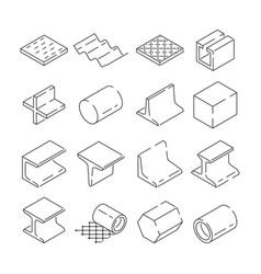 isometric symbols of metallurgy pictures of iron vector image