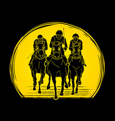jockey riding horse hose racing vector image
