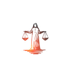 Justice islam weighing balance concept hand vector