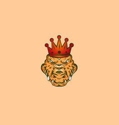 king crocodile mascot logo vector image