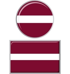 Latvian round and square icon flag vector