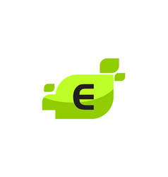 leaf initial e logo design template vector image