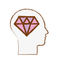 Line silhouette head with diamond inside vector