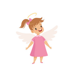 Little winged girl with halo on her head wearing vector