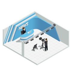 Live News Studio Interior vector