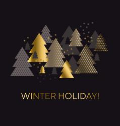 luxury black and gold geometric christmas tree vector image