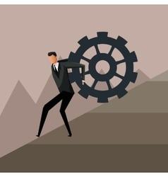 Man climbing gear growth business design vector